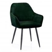 Krzesło Tapicerowane Welurowe Do Salonu Jadalni Ciemnozielone VICHY