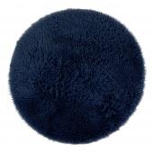 Dywan dekoracyjny non-slip średnie włosie Puszysty Okrągły do salonu i jadalni Granatowy GLAMOUR
