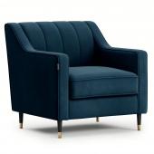 Welurowy fotel tapicerowany na ozdobnych nóżkach Glamour Granatowy MOVERNA
