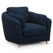 Pluszowy fotel tapicerowany Drewniane nóżki Granatowy ROMI