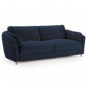 Granatowa sofa tapicerowana Pluszowa Drewniane nóżki ROMI