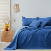 Narzuta na łóżko Pikowana Dwustronna Niebieska SOFTA