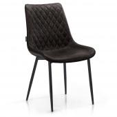 Pikowane krzesło tapicerowane do salonu Ciemnobrązowe ELUMIS