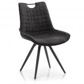 Nowoczesne krzesło tapicerowane do jadalni z pikowaniem Ciemny brąz ELAFONIS