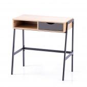 Biurko komputerowe do gabinetu industrialne z szufladami Brązowo Czarne Loft Dąb KINS