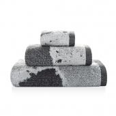 Sorema – Ręcznik Kąpielowy Bawełniany z Ozdobnym Paskiem Szary MARBLE