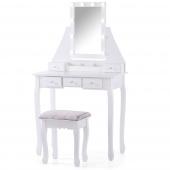 Nowoczesna toaletka z ruchomym lustrem i oświetleniem LED dotykowym Biała z taboretem ATALI