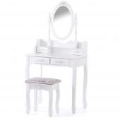 Toaletka Glamour z ruchomym lustrem 4szufladami i eleganckim taboretem Biała BRONTE