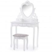 Klasyczna toaletka z ruchomym lustrem w kształcie serca i taboretem Biała z połyskiem Premium MILIAN