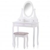Toaletka Glamour z ruchomym lustrem 3 szufladami i eleganckim taboretem Biała NOLITE
