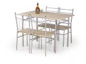 Nowoczesny zestaw stół i cztery krzesła Dąb sonoma TIBA