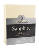 DecoKing – Prześcieradło Jersey - Sapphire - Kremowy