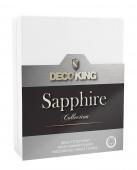 DecoKing – Prześcieradło Jersey - Sapphire - Biały