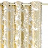 Zasłony dekoracyjne welwetowe Białe Złote Liście URBAN JUNGLE