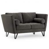 Sofa na stalowych nogach Premium Velvet Grafitowa DELTA