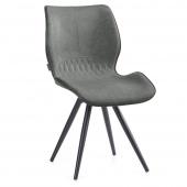 Szare krzesło tapicerowane z eco skóry Metalowe nóżki SMIL