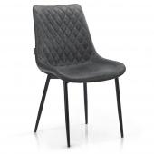 Pikowane krzesło tapicerowane do salonu Szare ELUMIS
