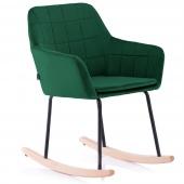 Krzesło Tapicerowane Bujane Skandynawskie Welur Zieleń ISLA