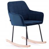 Krzesło Tapicerowane Bujane Skandynawskie Welur Granatowe ISLA