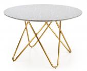 Okrągły stolik ze złotymi nogami Glamour Marmurowy blat 120 cm JANNIE