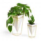 Umbra - Zestaw wazonów 2 szt. Biel + Złoto TRIGG