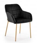 Krzesło tapicerowane pikowane Złote Nogi Glamour Czarne GADO