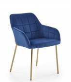 Krzesło tapicerowane pikowane Złote Nogi Glamour Granatowe GADO