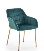 Krzesło tapicerowane pikowane Złote Nogi Glamour Ciemna Zieleń GADO