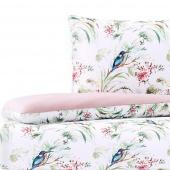 Pościel bawełniana w rustykalny wzór dwustronna Różowa Premium CHAFFINCH