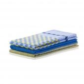 DecoKing - Zestaw ścierek kuchennych Niebiesko-żółty 3 szt. LOUIE