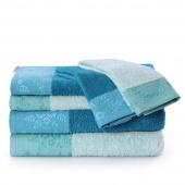 AmeliaHome - Zestaw 6 x Ręcznik Kąpielowy Bawełniany z ozdobną bordiurą Jasnoniebieski + Morski CREA