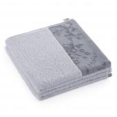 AmeliaHome - Ręcznik Kąpielowy Bawełniany z ozdobną bordiurą Jasnoszary CREA