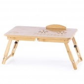 Regulowana Podstawka pod laptopa bambusowa naturalna z Szufladą HOLLOW