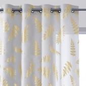 Biała firana ze złotym nadrukiem na przelotkach OLIVIO