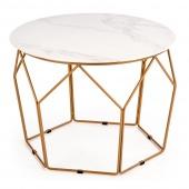Stolik kawowy Glamour Okrągły do salonu Złoty Stelaż EXPO