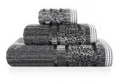 Sorema – Ręcznik Kąpielowy Bawełniany z Ozdobnym Paskiem Czarny MAZE