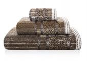 Sorema – Ręcznik Kąpielowy Bawełniany z Ozdobnym Paskiem Brązowy MAZE