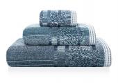 Sorema – Ręcznik Kąpielowy Bawełniany z Ozdobnym Paskiem Ciemnoniebieski MAZE