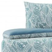 Pościel bawełniana w roślinny wzór Niebieski Premium MARMEYED