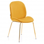 Krzesło Welurowe Tapicerowane Glamour Złote nóżki Musztardowe FLORIN