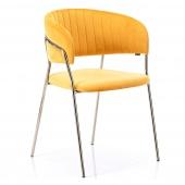 Krzesło Welurowe Tapicerowane Retro Złote nóżki Musztardowe LAREDO