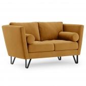 Sofa na stalowych nogach Premium Velvet Musztardowa DELTA