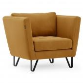 Nowoczesny fotel tapicerowany do salonu Musztardowy DELTA