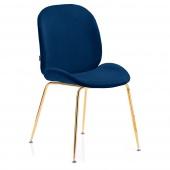 Krzesło Welurowe Tapicerowane Glamour Złote nóżki Granatowe FLORIN