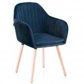 Krzesło Welurowe do Gabinetu Jadalni Drewniane nóżki Granatowe WOODY