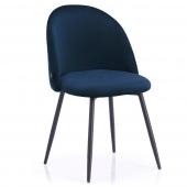 Krzesło Welurowe Tapicerowane Pikowane do Jadalni Salonu Granatowe FARO