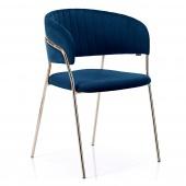 Krzesło Welurowe Tapicerowane Glamour Złote nóżki Retro Granatowe LAREDO