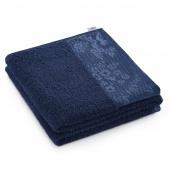 AmeliaHome - Ręcznik Kąpielowy Bawełniany z ozdobną bordiurą Ciemnoniebieski CREA