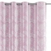 Welwetowa zasłona zaciemniająca na przelotkach Srebrny nadruk liście Różowa FLORES