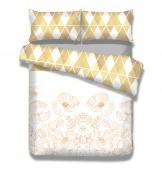 AmeliaHome - Pościel Flanelowa Biało Beżowa Snuggy GOLDEN POPPY MOTYWY KWIATOWE